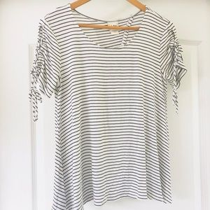 Daytrip striped open back blouse